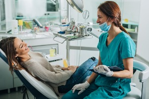A woman getting ready for her dental appointment at the Best Dentist in Bloomington IL